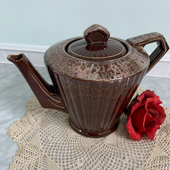 Brown Drip Glaze Teapot Mid Century Ribbed Styling
